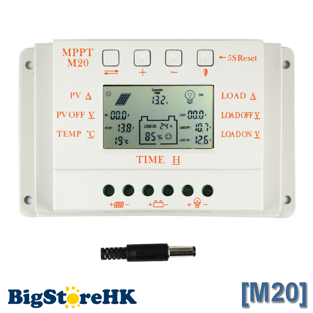 20A PWM & MPPT Solar Charge Controller LCD Display 12V 24V Auto Max 520W PV With Temperature Sensor Light and Timer Control M2020A PWM & MPPT Solar Charge Controller LCD Display 12V 24V Auto Max 520W PV With Temperature Sensor Light and Timer Control M20