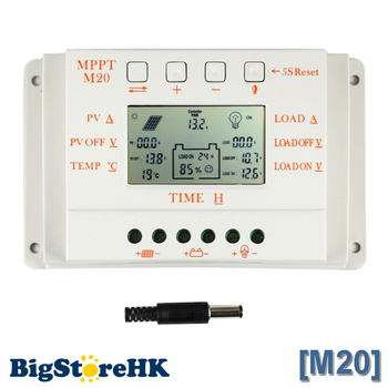 20A PWM & MPPT Solar Charge Controller LCD Display 12V 24V Auto Max 520W PV With Temperature Sensor Light and Timer Control M20 mppt 10amp 10a solar power charger regulator tracer1215bn with temperature sensor 12v 24v