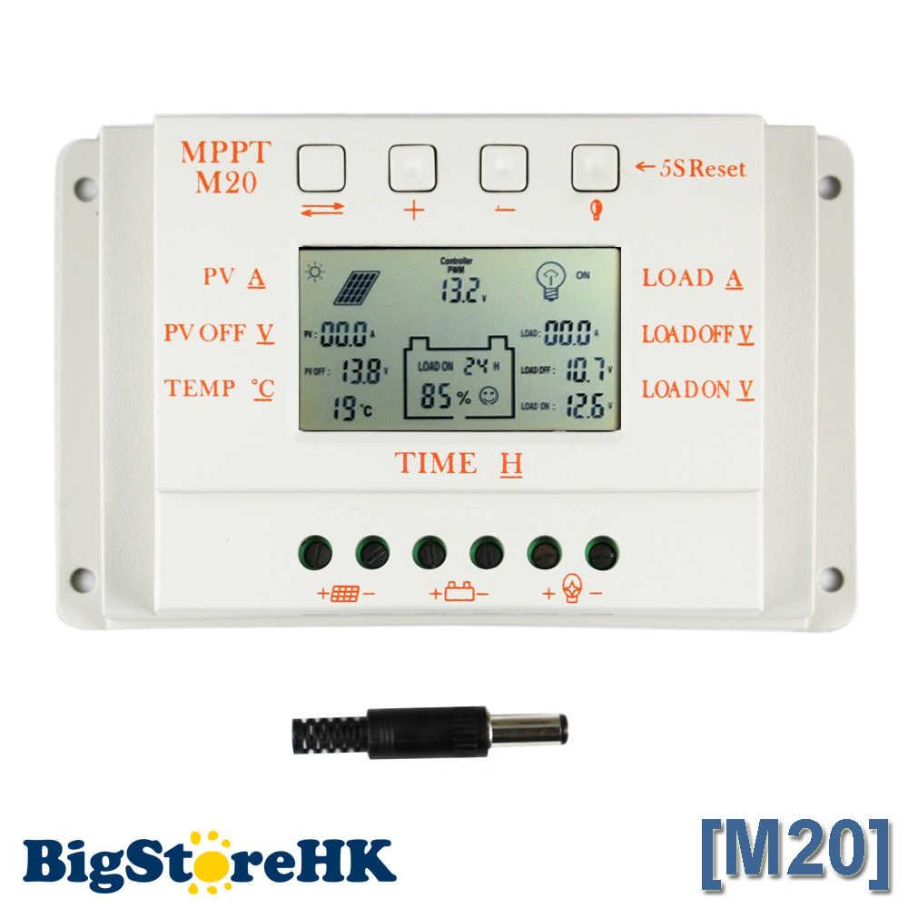 Contrôleur de Charge pour panneaux solaires, PWM et MPPT, 12V/24V, 520W Max, PV avec capteur de température et minuterie, avec écran LCD, 20A