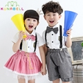 Children Teenager Cute Girls Boy School Uniforms Sets Bow Tie T-shirt +Half Strap Pants Tutu Skirt Set Boy Performing Suit L205
