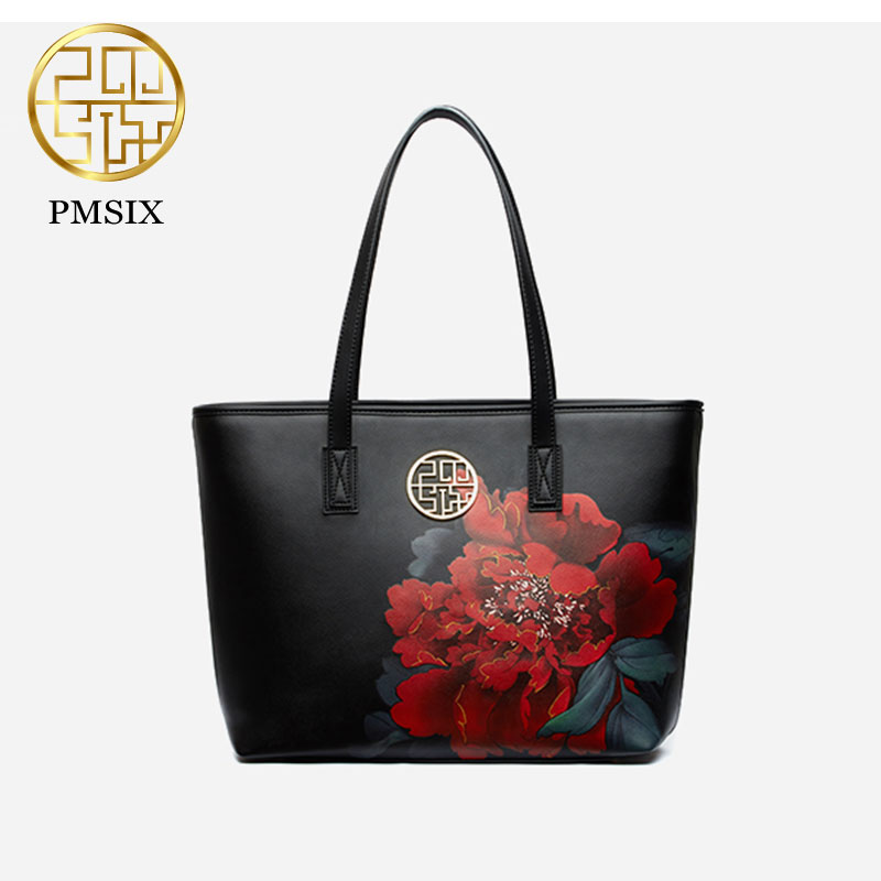 Pmsix fashion women bag 2017 autumn and winter new simple large capacity Chinese style flower printed handbag blue/ red P140019 maison jules new blue women large l umbrella printed surplice jumpsuit $79 059