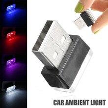 1pc Mini USB LED wewnętrzna lampka samochodowa Neon atmosfera lampa otoczenia czerwony fioletowy biały niebieski kolor