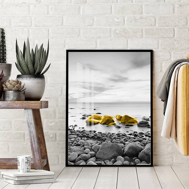 Poster Golden Boat Canvas Art Print Coastal Wall Painting Decoration Pictures for living Room Home Decor-50x70cm No Frame