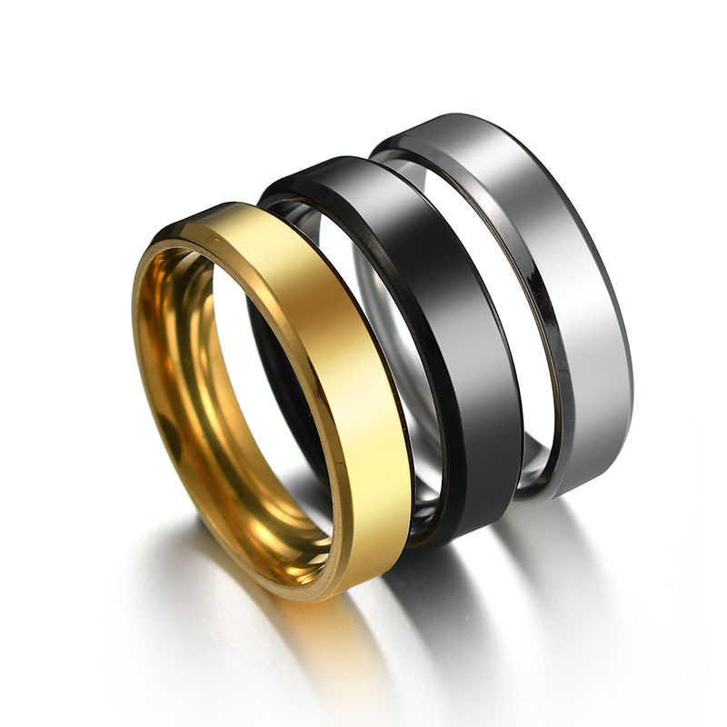2020 6 مللي متر التيتانيوم الصلب الأسود خواتم الاصبع مجموعة للرجل الفضة مطلي خاتم للنساء الذهبي اللون مجوهرات الإناث خاتم الزواج