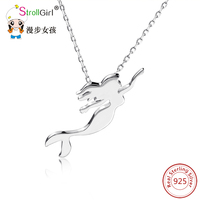New Real 925 Sterling Silver Beautiful Mermaid Princess Pendant Necklaces For Women Fashion Jewelry Party Accessories