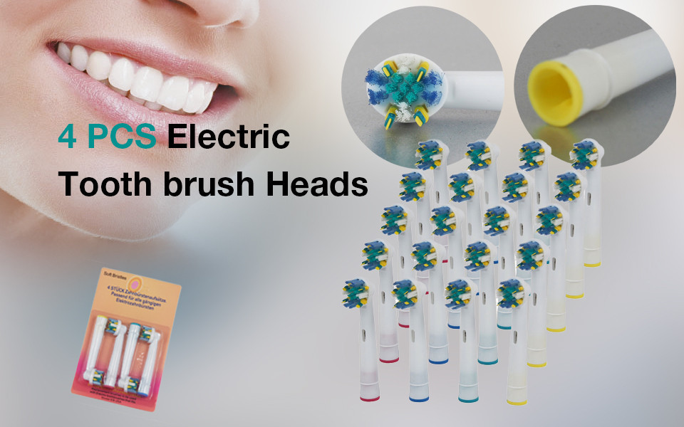 4 PCS Brush Head Replace Electric Toothbrush Family Travel Pack Round Massage Oral Hygiene ultra soft children kids cartoon toothbrush dental health massage 1 replaceable head outdoor travel silicone retractable folding