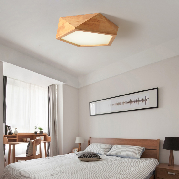 Solid Wooden Led Geometric Ceiling Lights Japanese Wood