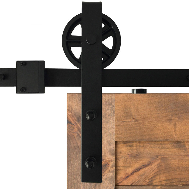Us 5882 5 8ft Super Grote Wiel Zwart Staal Schuifdeuren Schuur Hout Deur Kast Hardware Track Roller Hanger Kit Set In 5 8ft Super Grote Wiel Zwart
