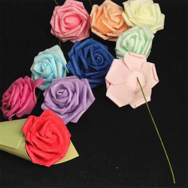 10pcs Fiori Artificiali Rose 8 centimetri di Alta Qualità Dell'automobile di Cerimonia Nuziale Bouquet Da Sposa Decorazione Della Casa Lotto Rosso di Gomma Piuma del PE Rose fiori neri