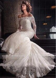 Image 2 - Romantische Tule Off De Schouder Hals Mermaid Trouwjurk Met Kant Applicaties Plus Size Bridal Dress Vestidos De novia