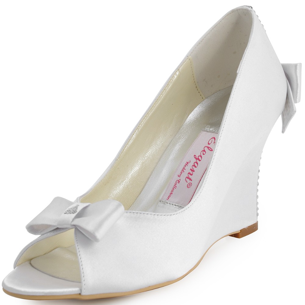 EP41020 Ivory White Women Wedding Wedges Peep Toe High Heels Pumps Bow Rhinestones Evening Dress Prom Party Shoes