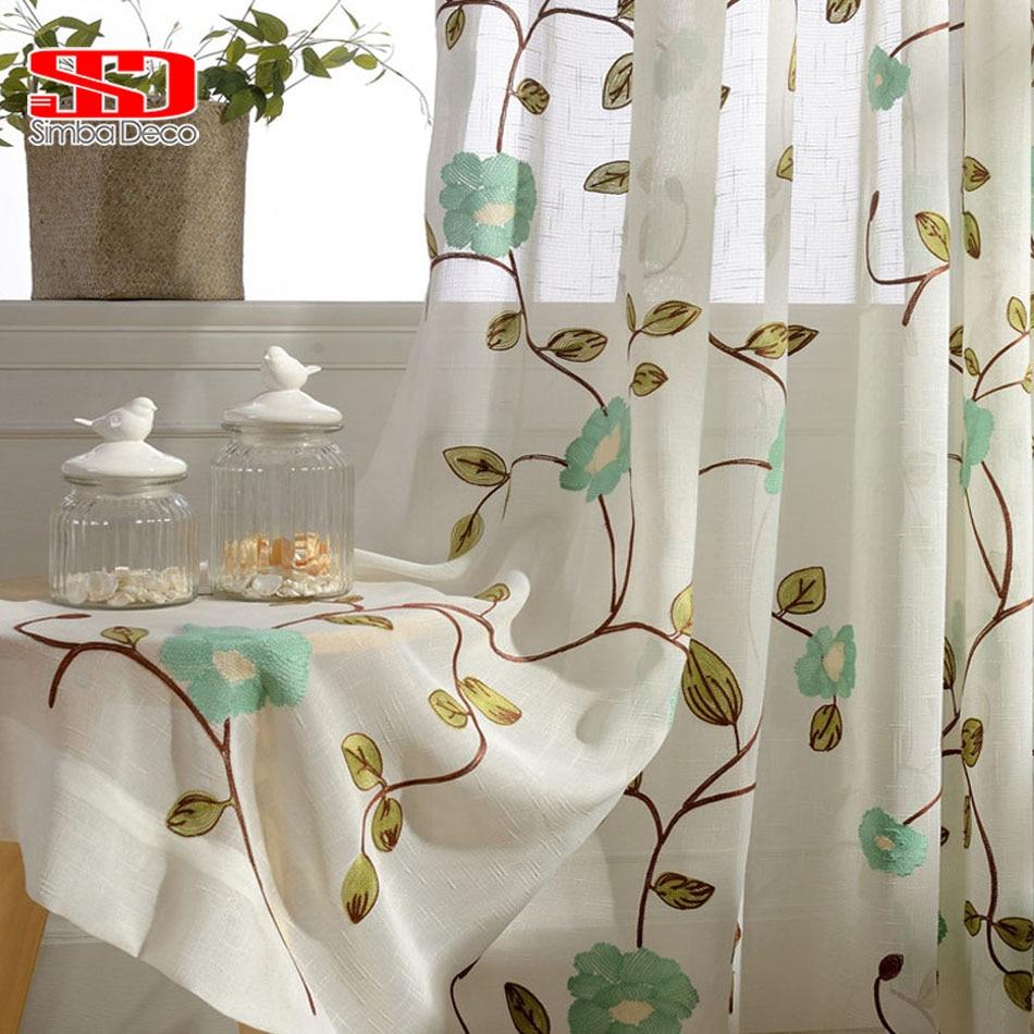 Ventana de lujo Tulle Cortinas Para la Sala de estar Bordado de la - Textiles para el hogar