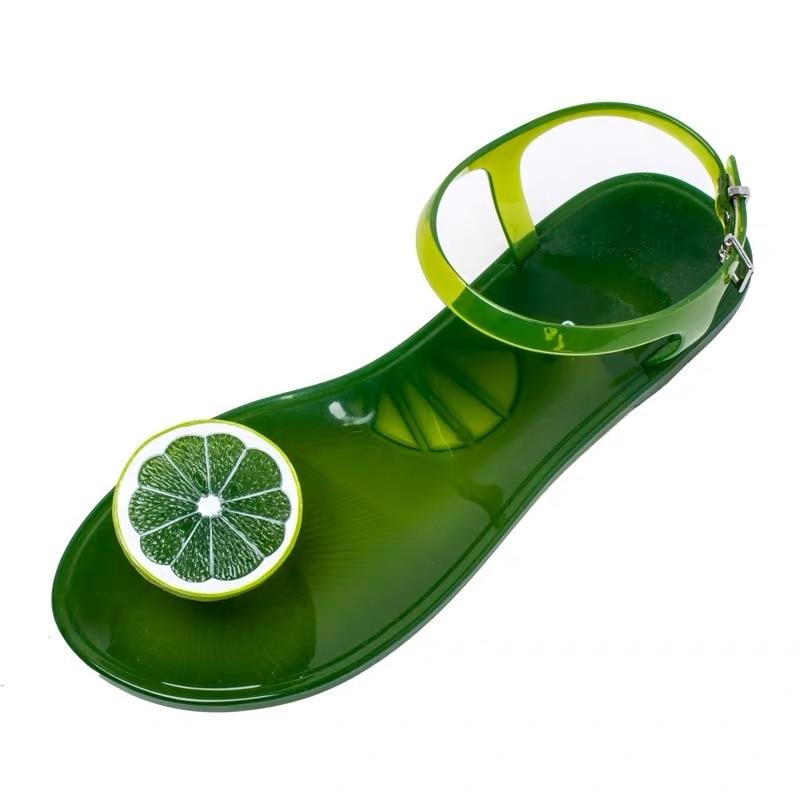 Melissa Shoes Women Fruit PVC Jelly Sandals Women Summer Cute Crystal Flat Heel Pinch Toes Shoes