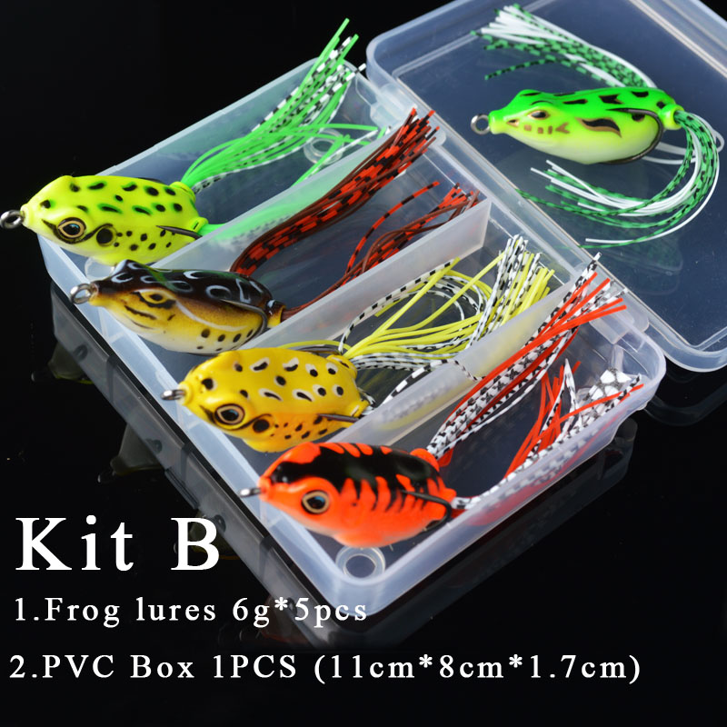 TOMA 5pcs Frog Fishing Lures Kit 6g 15g Snakehead Lure Topwater Floating Frog Baits with Box