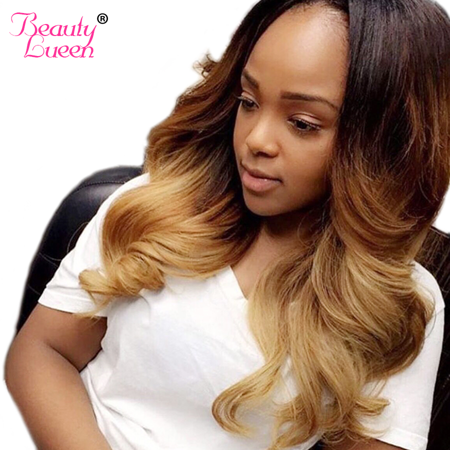 Ombre Brazilian Hair Body Wave Can Buy 3 or 4 Hair Bundles With Lace Closure Human Hair Bundles 1B 4/27 Non Remy Beauty Lueen