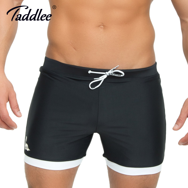 Taddlee Brand Men's Swimwear Solid Black Color Basic Traditional Long Swimsuits   Board   Beach   Shorts   Trunks Plus Size XXL