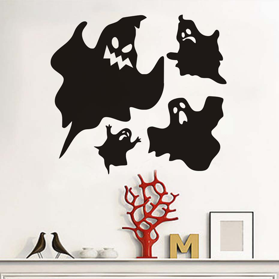Hallowmas Popular Vinyl Removable Black Ghost Wall Stickers