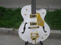 Personalizada de fábrica Branco Gretsch Falcon 6120 Semi Corpo Oco Jazz Guitarra Elétrica Com Bigsby Tremolo