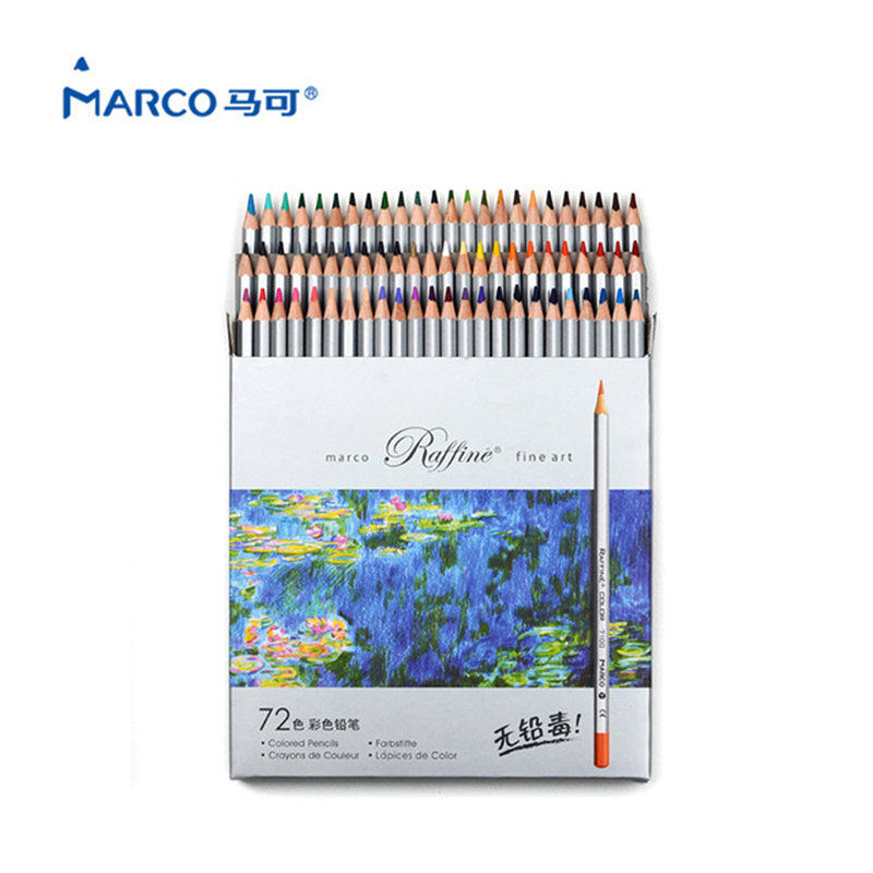 Marco Pencil 72 colors/set Watercolor Professional Drawing pencils colored pencil school lapices de color for School Supplies цена
