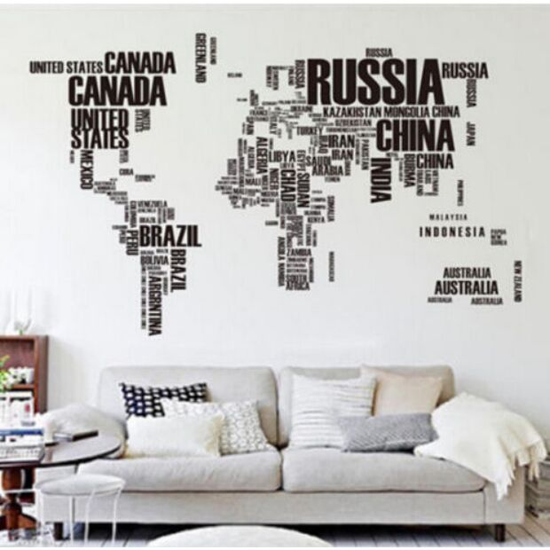 Black alphabet world map wall sticker decal decals wallpaper wall black alphabet world map wall sticker decal decals wallpaper wall stickers home decor mural home decor gumiabroncs Image collections
