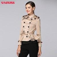 Femmes Automne Coréenne Style Slim Dames manteau court 2017 De Mode Épaulette Classique à double boutonnage veste Ruches de femmes manteau court