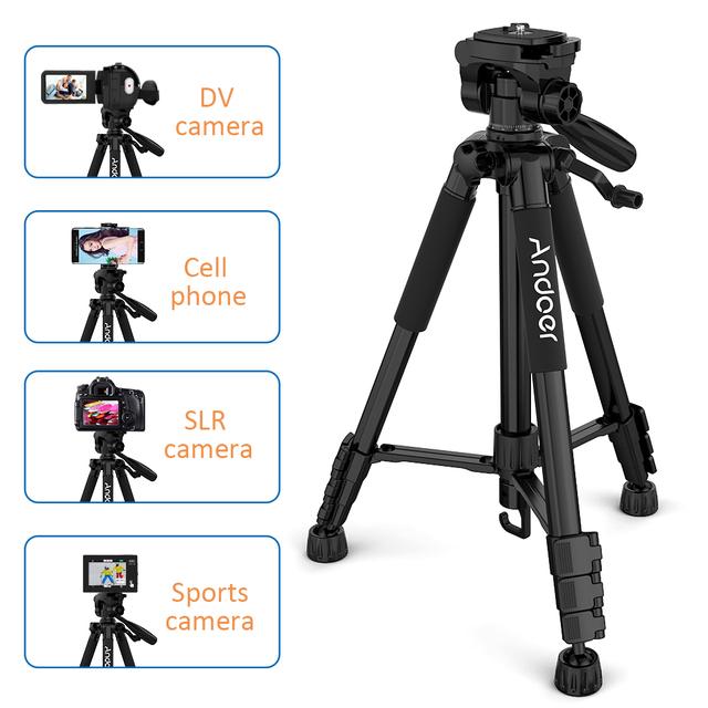 Andoer TTT-663N Professional Portable Travel Aluminum Camera Tripod for SLR DSLR Digital Camera Tripod with Phone Clamp