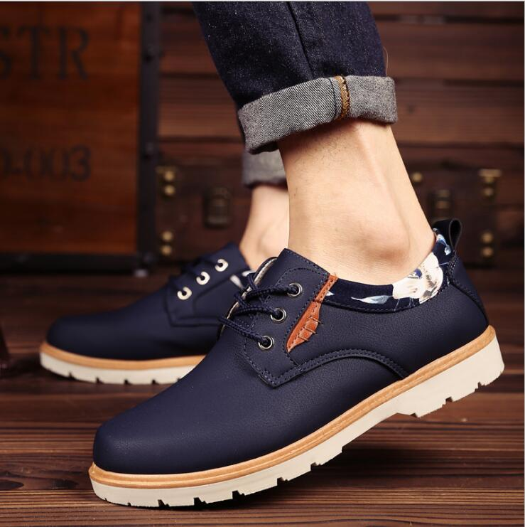 2016 Hot Sale Man Autumn Winter Shoes Leather Men Ankle Boot Fashion Casual Shoe Lace-up Round Toe Safety Work Martin Boots front lace up casual ankle boots autumn vintage brown new booties flat genuine leather suede shoes round toe fall female fashion