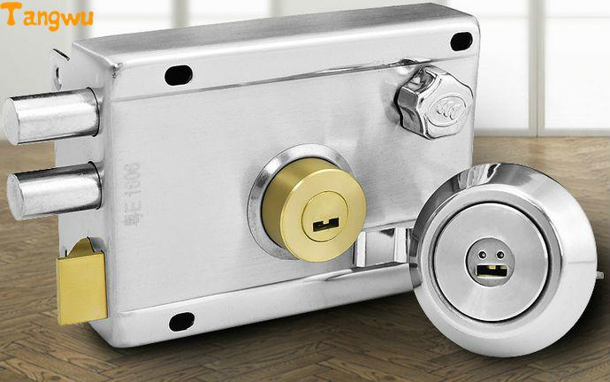 Free shipping Stainless steel anti-theft door lock super grade C idling  old outside  locks  wooden door free shipping super b grade high security blade door lock goldatom