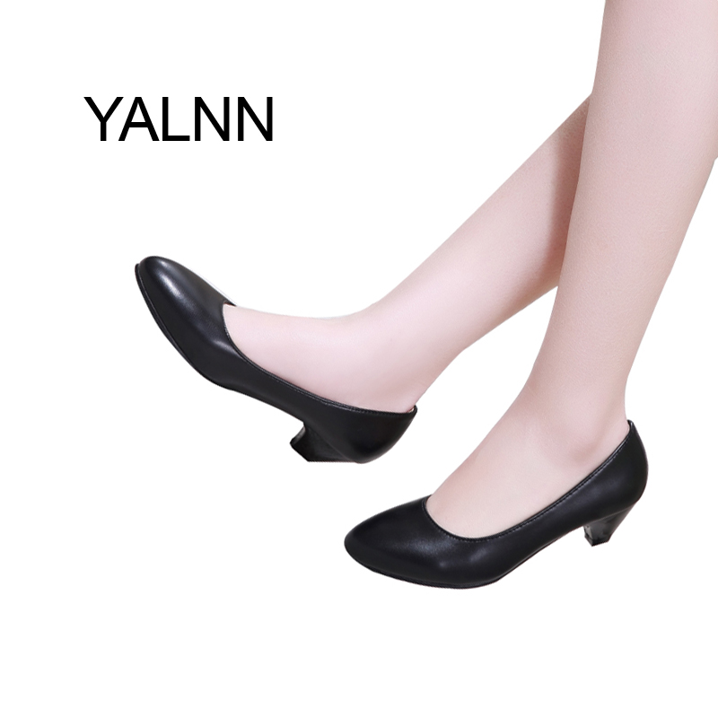 YALNN Fashion Black 3CM High Heels Pump Mature Women Shoes Dress Pointed Toe Office Lady Shallow