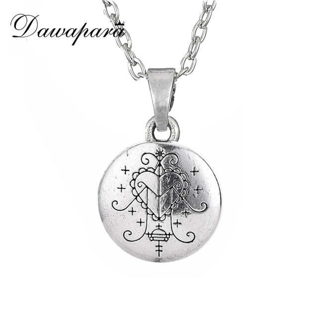 US $1 48 25% OFF Dawapara Voodoo Loa Veve Pendant Lwa Protection Amulet  Hoodoo Talisman Vintage Gothic Necklace-in Pendant Necklaces from Jewelry &