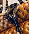 fashion Rivets Leather leggings women nail backing leather pants leggings Rivets, punk hip slim leather Pants WOMEN