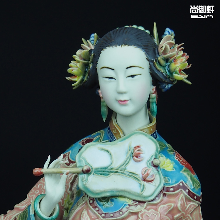Shiwan doll boutique master works autumn ladies figure crafts ceramic ornaments send foreigners creative gift in Statues Sculptures from Home Garden