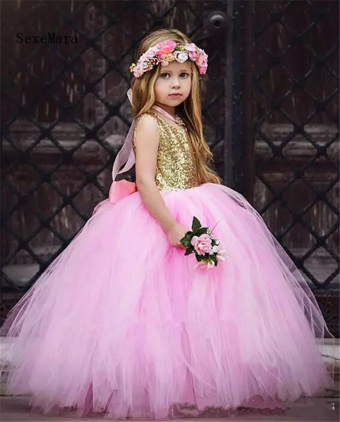 Gold Sequins Pink Puffy Tulle Baby Girls Birthday Dresses Open Back with Ribbon Girls Pageant Dress Size 2 4 8 12 14 pink sequins embellished open back lace up top