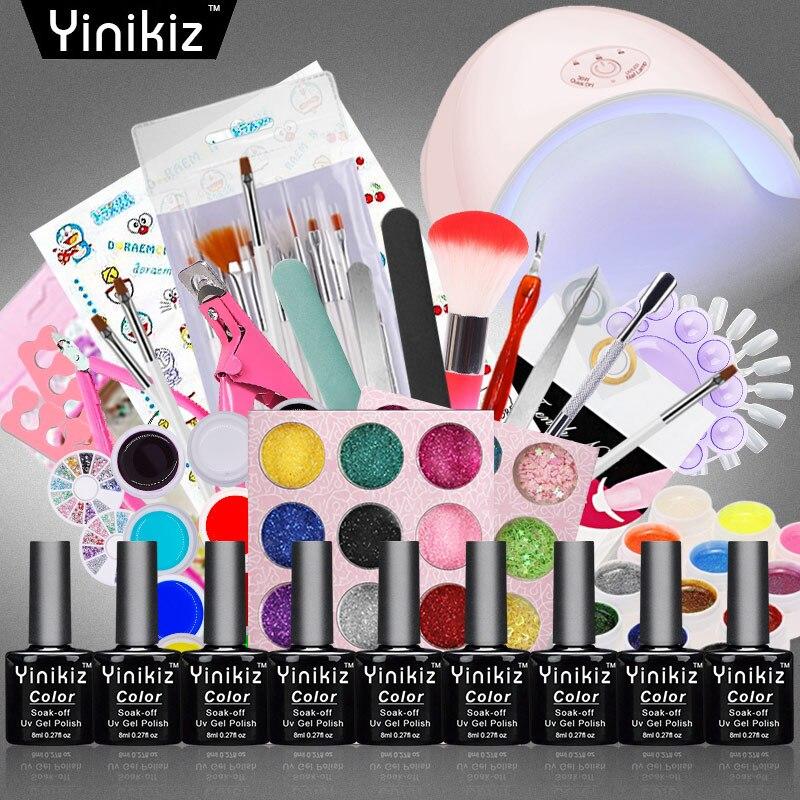 Nails Art & Tools Beauty & Health Enthusiastic Yinikiz Uv Nail Gel Polish Kit 36w Led Nail Lamp Makeup Brush Super Deal Package Diy Nail Tools Set