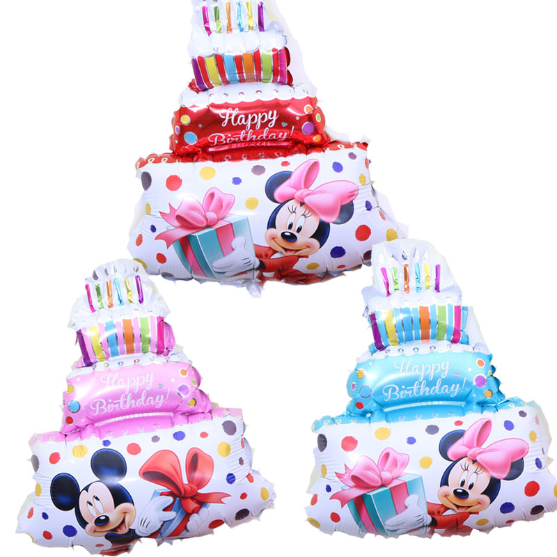 50pcs Mickey Minnie Cake Birthday Party Helium Foil Balloons Inflatable Air Ball