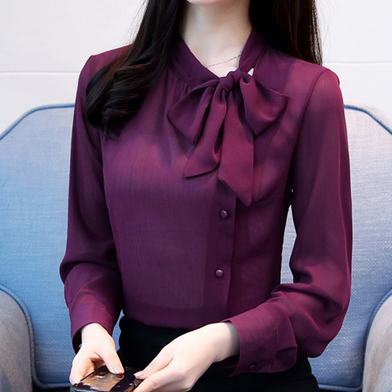 bow neck womens clothing spring 2018 new long-sleeved chiffon women blouse shirt solid purple formal women tops blusas 210H