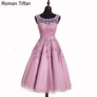 Promotion Prom Dresses Hot Sale A Line Appliue Beading Banquet Party Gown Medium Length Sleeveless Illusion