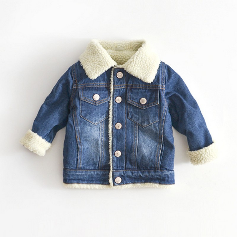 2019 Jacket For Girls Boys Autumn Winter Plus Cashmere Thicken Jeans Coat Children Clothes Warm Fashion Baby Denim Jackets 2-6Y 1