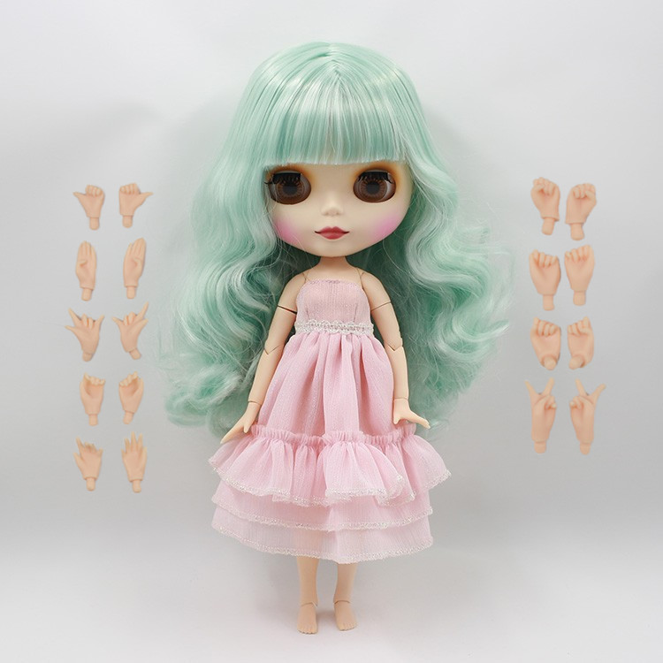 Free shipping Nude Doll For Series No 230BL4006136 Joint Doll Green hair With Bangs Suitable For