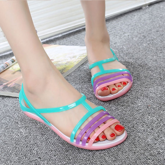 Nasipal Women Sandals 2017 Summer New EVA Candy Color Peep Toe Beach Valentine Rainbow Croc Jelly Shoes Woman Wedges sandals G2