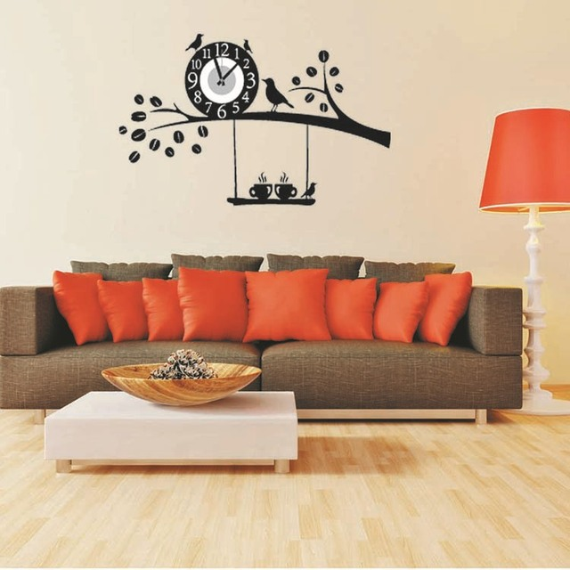Clock Wall Decor 2015 removable diy clock wall stickers home decor black birds tree