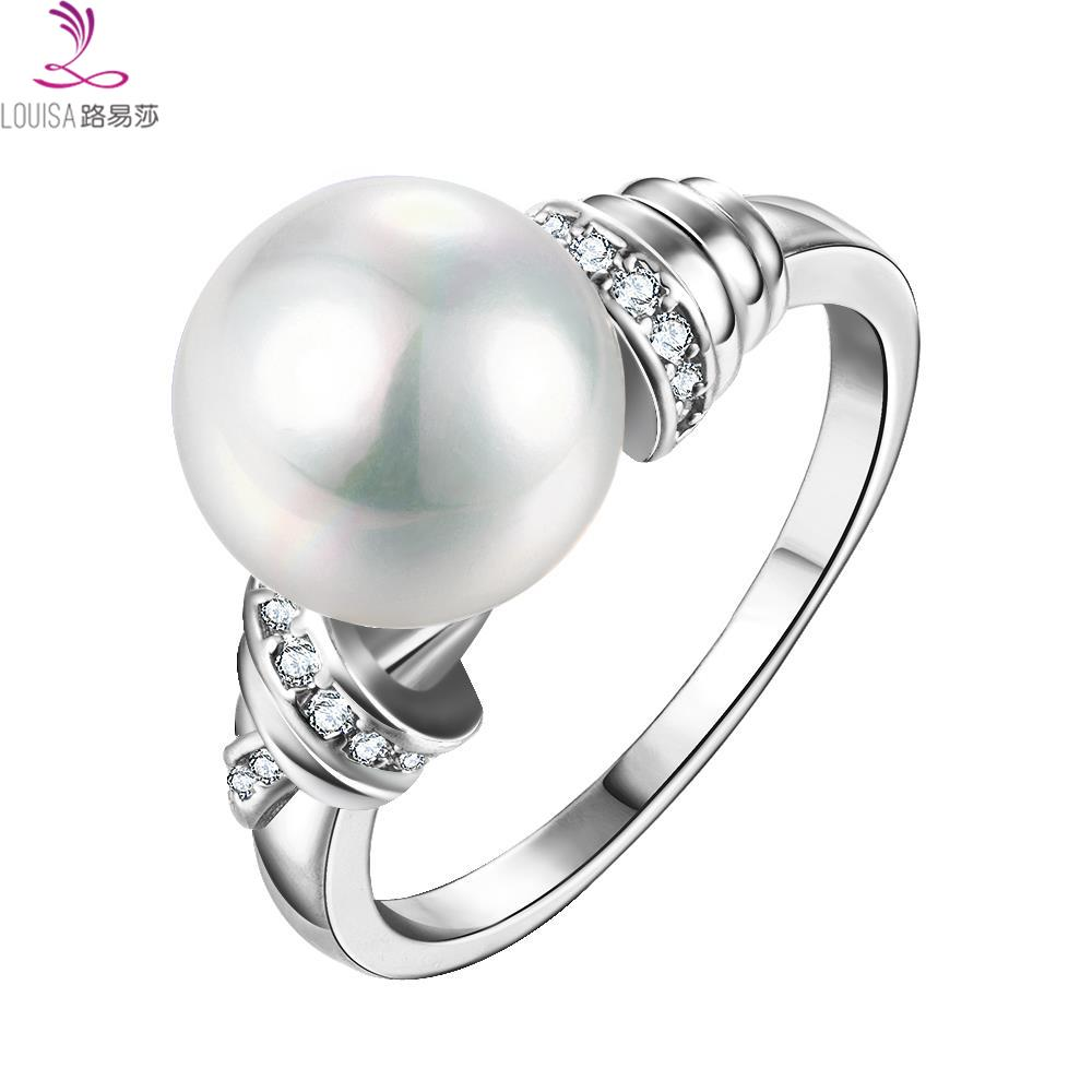 eeeeec1466c95 Platinum/24K Gold/Rose gold Plated Classic Simple Design Pearl rings ...
