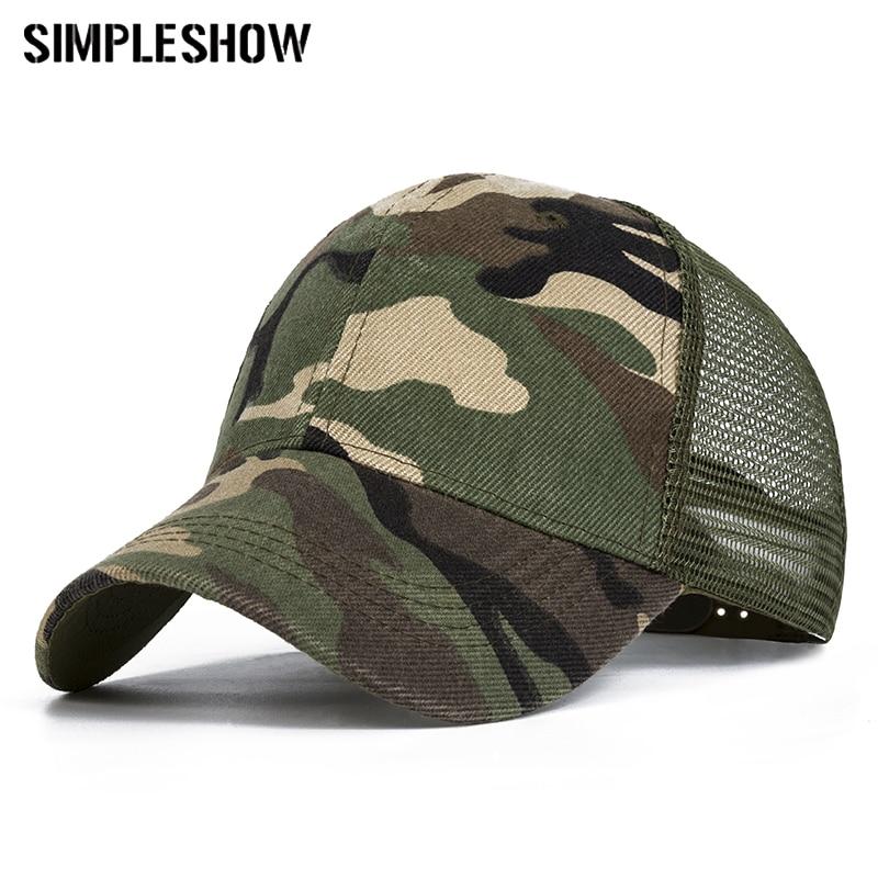 2019 Camo Baseball Caps Männer Sommer Mesh Cap Tactical Camouflage Hut Für Männer Frauen Hohe Qualität Knochen Masculino Papa Hut Kappen