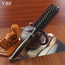 Natural Mane  Bristles Wooden handle Roll Hair Brushes professional Antibacterial Heat -resistant  round brush antistatic comb