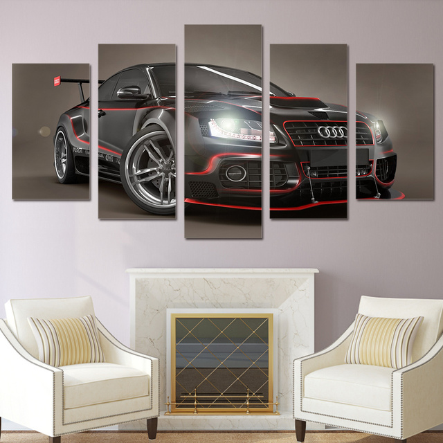 Wall Picture 5 Panel Cool Car Landscape For Living Room Nordic Decor New Art Cuadros