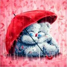 Peter ren Diamond painting cross stitch embroidery Square & Round diamond mosaic icon Full image Rag doll under umbrella