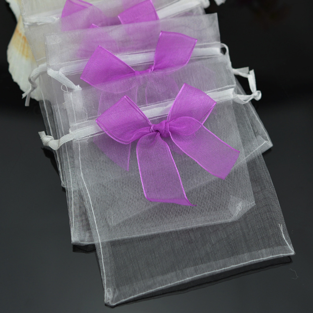 100Pcs Organza Purple Bow Drawstring Pouch Jewelry Packing Bag 10x12cm,New Year Christmas Wedding Party Favor Organza Gift Bag