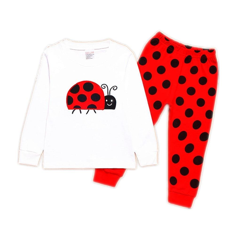 Ladybug Girl Clothes Suits Embroidery Cotton Baby Girls Pajamas Print Children Sleepwear Cartoon Pyjamas T-Shirt + Pant 2PCS Set 1