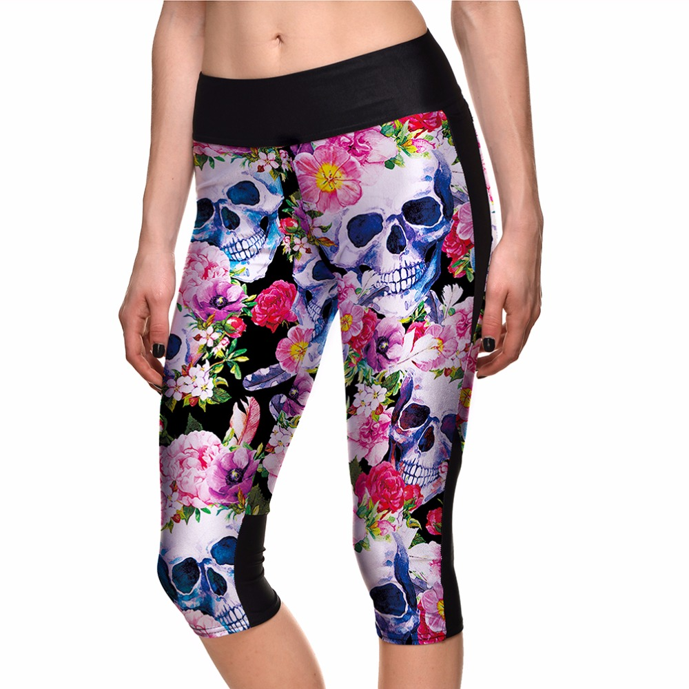 NEW Design Pink Flower Skull Women Running Capris Pants S To 4xl Plus Size Elastic Gym Yoga Capris