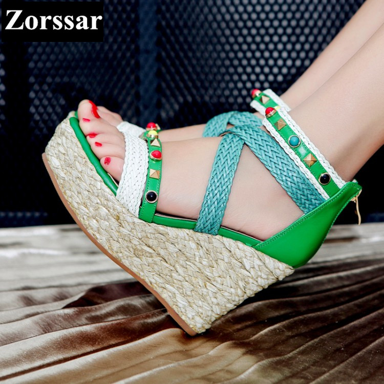 2017 Summer Women Shoes platform wedges Sandals High heels Woman Casual shoes Fashion Hemp rope rivet Punk Roman gladiator shoes 2017 summer new rivet wedges sandals creepers women high heel platform casual shoes silver women gladiator sandals zapatos mujer